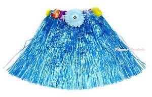 Halloween Sky Blue Hawaiian Dance Grass Hula Skirt Party Costume Adult /& Kids