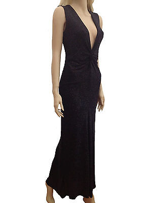 Womens Black Sparkly Glitter Plunge V Formal Evening Party Long Dress 10 12 14
