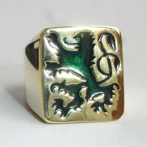 German Green Lion Coat of arms Men's Biker Ring