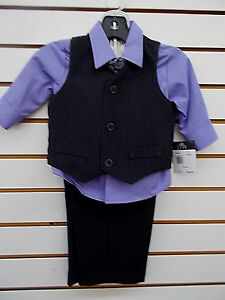 Infant Boys TFW $35 4pc Purple & Black Vest Suit Size 12 Months - 24 Months
