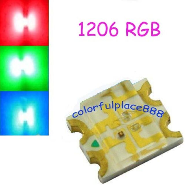 20pcs, 1206 SMD RGB LED Water Clear Common Anode Red/Green/Blue leds Diode SMT
