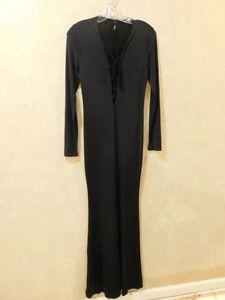 Details about Women\'s Gojane Black Maxi Dress Black Size M Lace up front  ___+__________R15A2