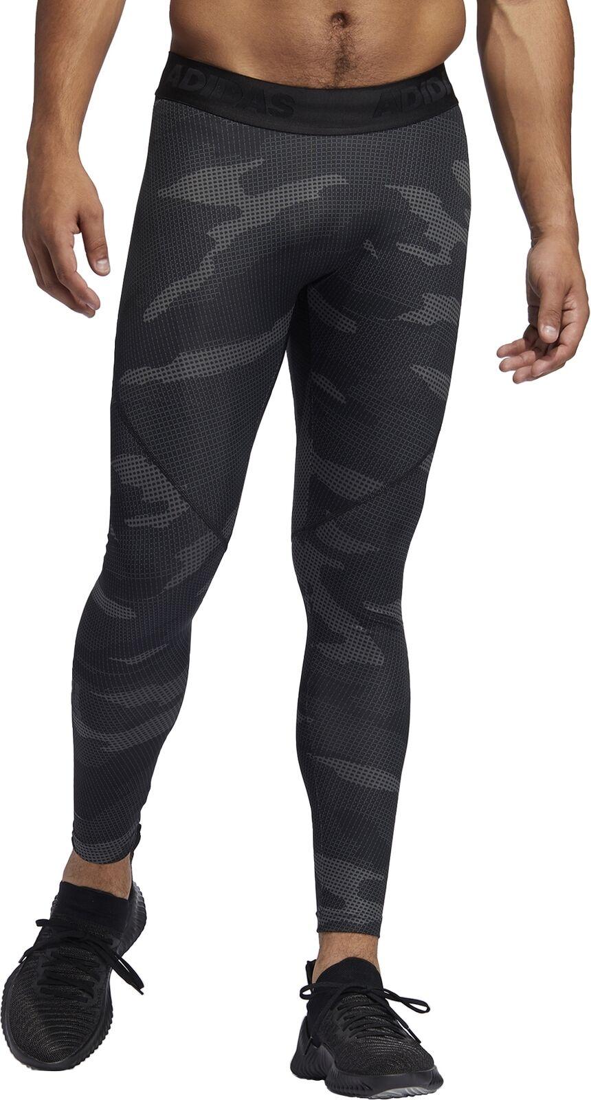 Adidas AlphaSkin Camouflage Mens Training Tights grau Gym Workout Compression