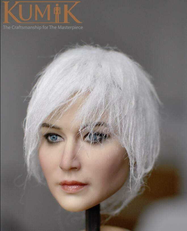 KUMIK KM18-37 1 1 1 6 White Hair Female Head Sculpt for 12'' Female Figure Doll 1a2c0a