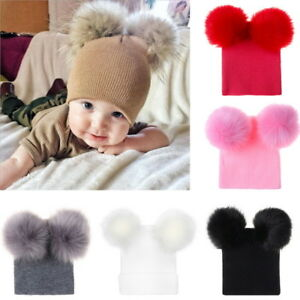 eaf4b4ebbdd Kid Baby Boys Girls Beanie Hat Cap Winter Warm Double Fur Pom Bobble ...