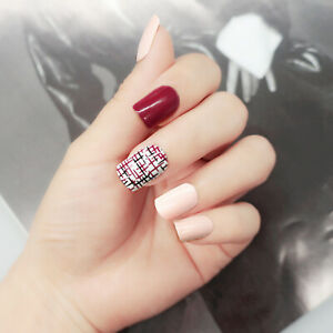 24pcs Pre Design Fake Nails Matte Gradient Short False Nails