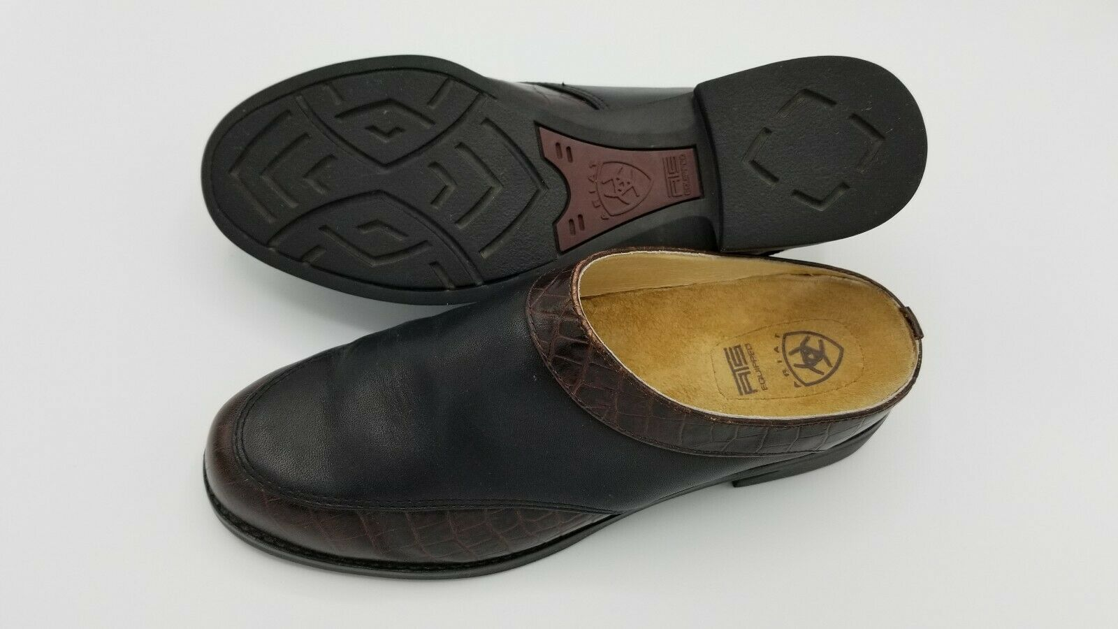 Ariat 94302 Black Leather Croc Print Slip On Mules Heel Shoes Women's US 6 B Med