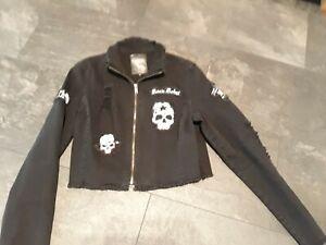 Damen Mit Jacke Rockigen Patches M Details Black Rock Rebel Jeans Zu WEIH29D