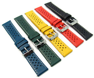 Leather-Watch-Strap-Perforated-Retro-Racing-Style-C093-Choose-Size-amp-Colour