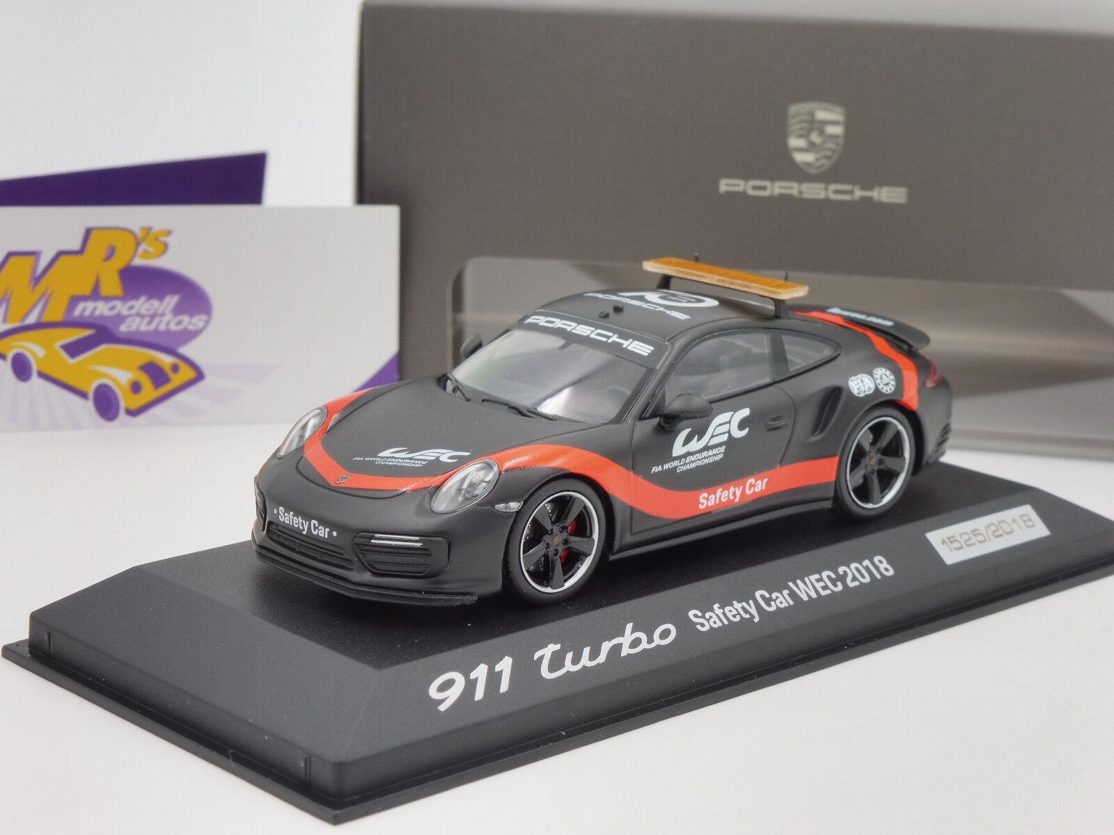 Minichamps   PORSCHE 911 Turbo MATT NERO-ROSSO  Safety Car WEC 2018  1 43 NUOVO