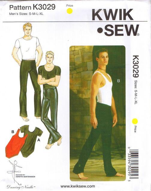 Kwik Sew 3029 Mens Dancewear Leotards Tank Vest Pants Sewing