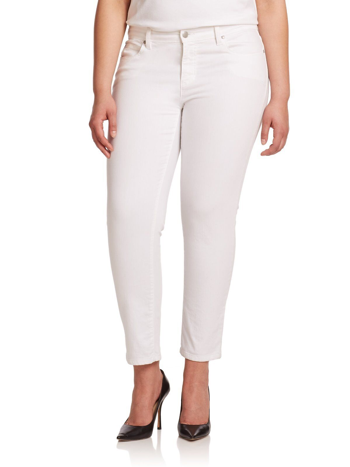 NWT   178 EILEEN FISHER NEW Ivory Textured Low-Rise Skinny Ankle Jeans.SZ 14