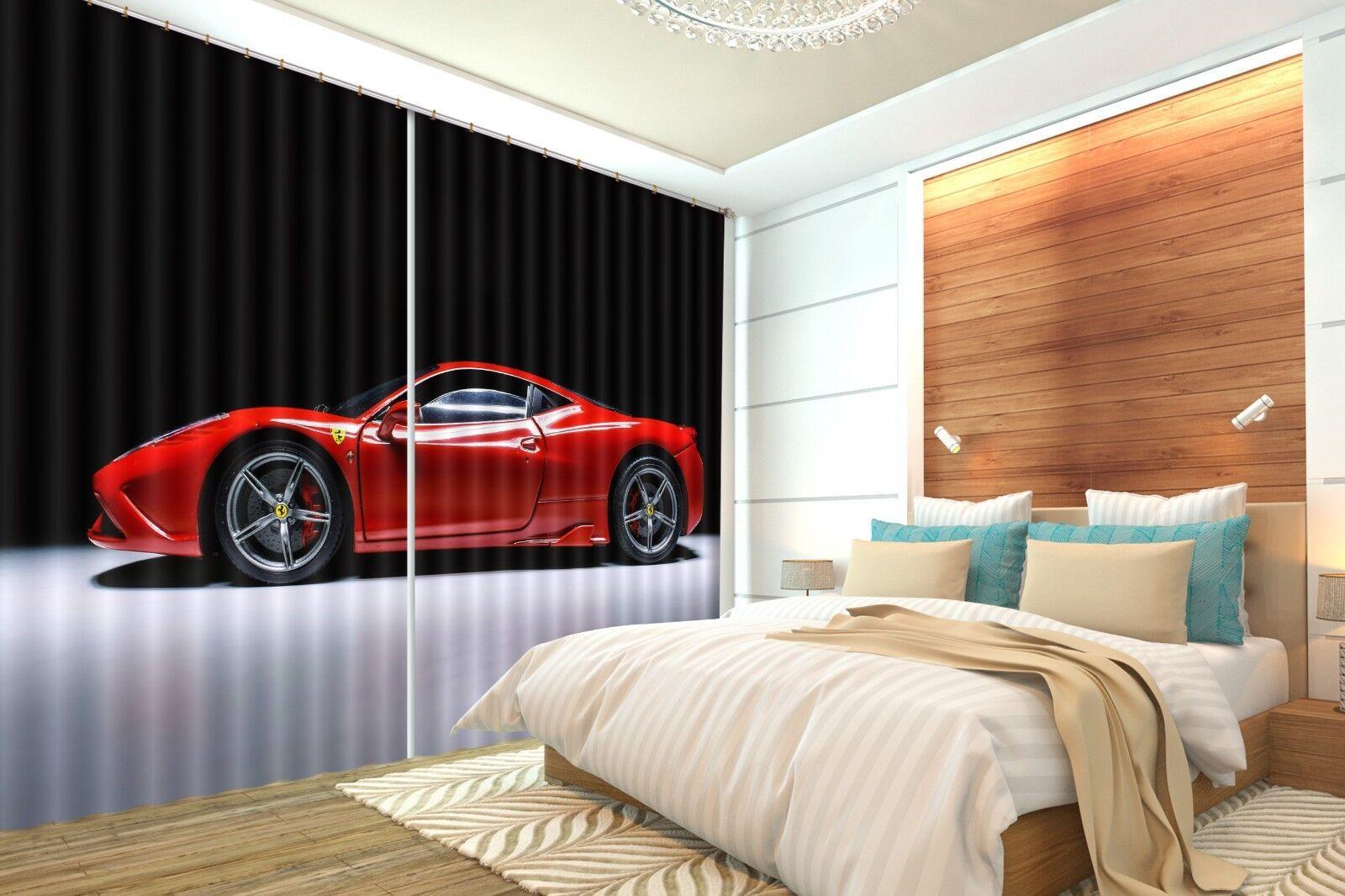 3D Coche Rojo 73 Cortinas de impresión de cortina de foto Blockout Tela Cortinas Ventana CA