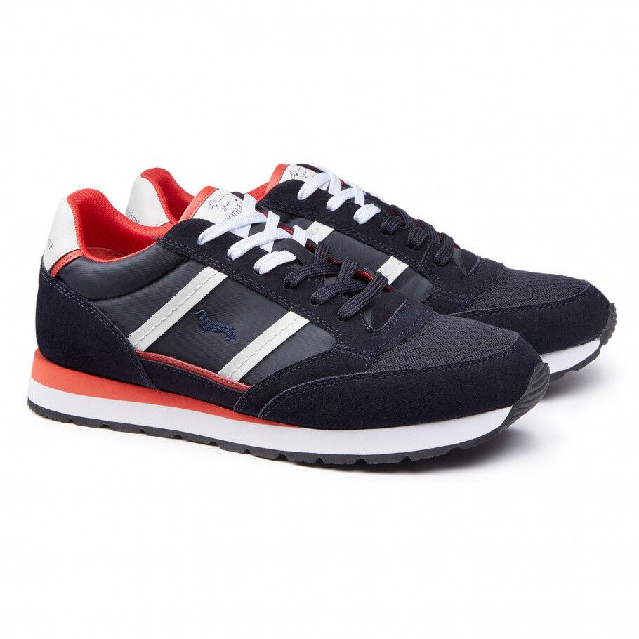 zapatos Harmont & Blaine hombres - zapatillas Camoscio Tela - azul rojo - E1001