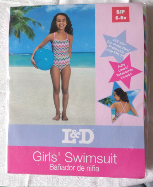 Girl's Sz 6 6X Pink Chevron 1-pc Bathing Suit New in package Fully Lined 50+ UPF