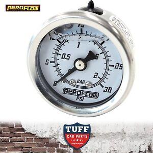 Aeroflow-White-0-30-PSI-Liquid-Filled-Carb-Fuel-or-Oil-Pressure-Gauge-1-8-034-NPT