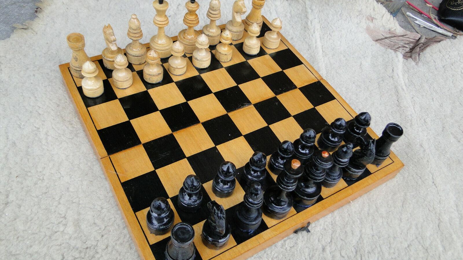 Nice Vintage Soviet USSR Russian Chess Wooden Chess Set  Full