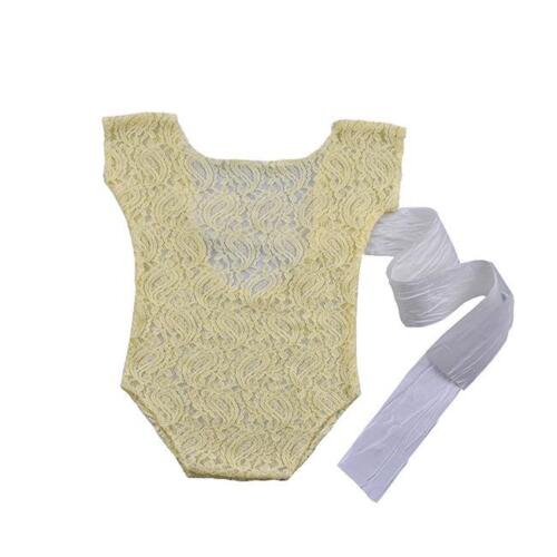 Newborn Baby Infant Photo Props Floral Lace Romper Ribbon Bow Jumpsuit Outfits Z