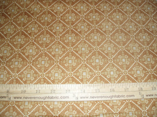 Cotton Fabric Orangy TAN Malaysian Mosaic pattern with hearts BTY