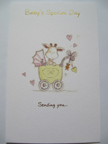 BEAUTIFUL COLOURFUL GLITTER COATED BABYS SPECIAL DAY GREETING CARD