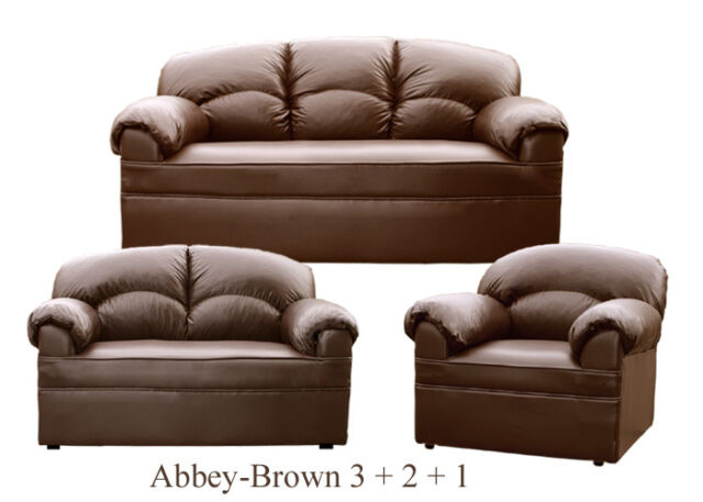 NEW BROWN LEATHER SOFA 3 + 2 + 1 SOFAS COUCH SUITE SETTEE