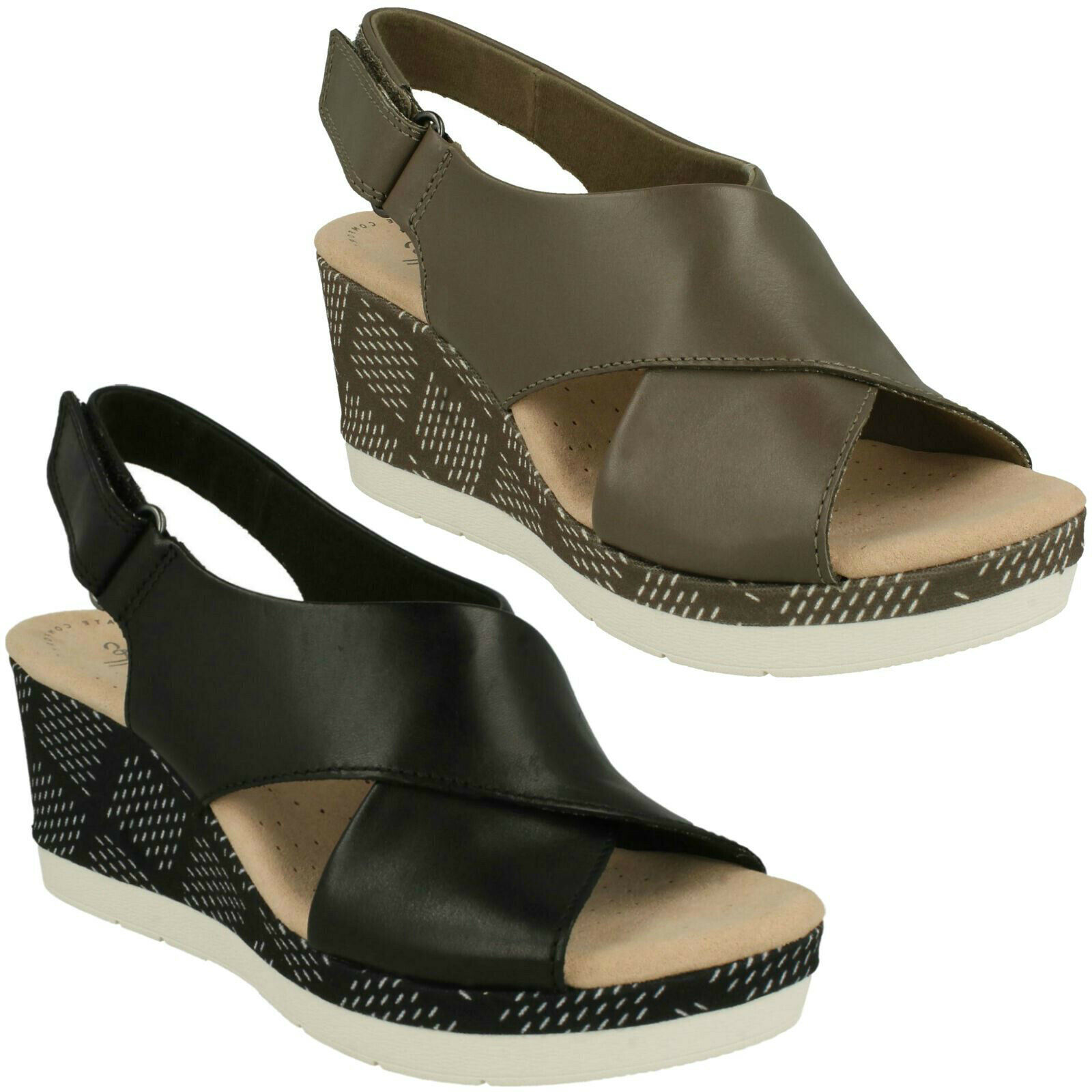 LADIES CLARKS CAMMY PEARL WEDGE HEEL CASUAL RIPTAPE SLINGBACK LEATHER SANDALS