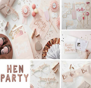 Team-Bride-To-Be-Hen-Party-Night-Sashes-Rose-Gold-Pink-Decorations-Tableware