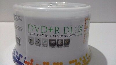 50 Power Disc DVD+R Dual Double Layer White Inkjet HUB Printable DL Disc