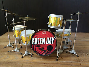 Tre Cool Green Day Uno Dos Tre Miniature Drum Set Free Shipping