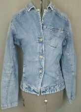 Silver Denim Jean Jacket Womens Ladies Size Large Medium Wash Long Sleeve Fitted