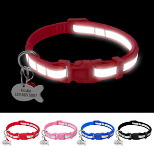 Nylon-Reflective-Small-Dog-Cat-Collars-amp-Tags-Personalized-for-Pet-Puppy-Kitten