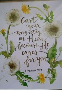 Details about Cast Your Anxiety on Him 1 Peter 5:7 Matted Picture 11 x 14
