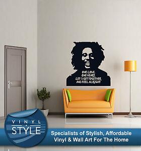 Adesivi Murali Bob Marley.One Love Bob Marley Canzoni Con Immagine Adesivo Con Frase Arte Da