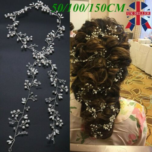 Pearls Wedding Hair Vine Crystal Bridal Accessories Diamante Headpiece