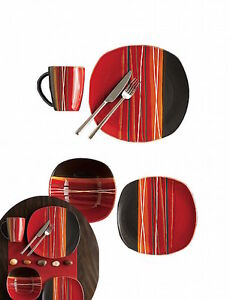 Image Is Loading Contemporary Red Dinnerware Dining Set 8 Plates Bowls