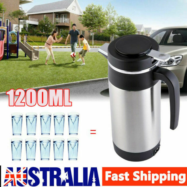 12V In Car Stainless Steel Kettle 1200ML Camping Travel Portable Kettle AU Ship