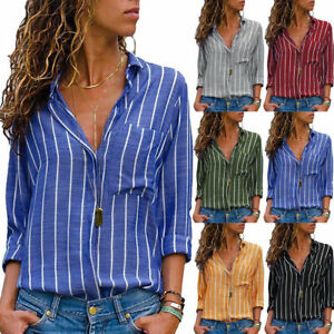 Womens-V-neck-Long-Sleeve-Casual-OL-Shirt-Ladies-Striped-Tops-Blouse-T-Shirts