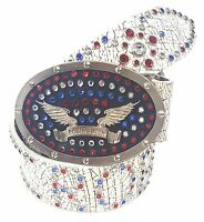 Robin's Jean Embellished Oval Buckle Usa Belt 100% Authentic White/multi