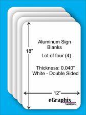 4 White Aluminum Sign Blanks 12 X 18 X 0040 Double Sided Inoutdoor
