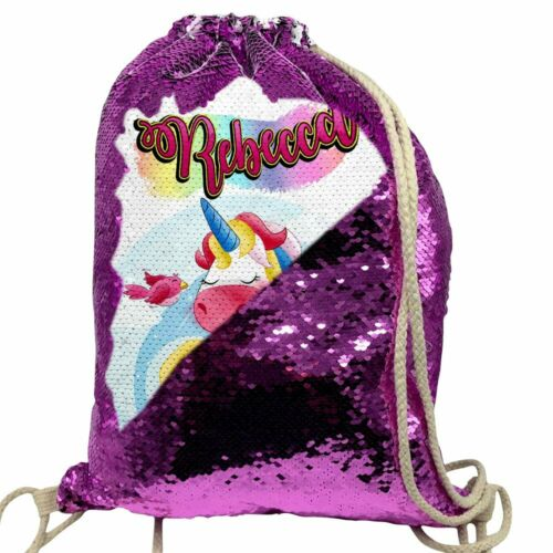 Personalised Unicorn Pink Sequin Drawstring Bag Any Name School Nursery PE 6