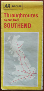 AA Service Throughroutes to and from Southend UK Road map 1971
