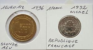 Lot-de-2-pieces-Francaise-1euro-1-2-1996-et-1-franc-1992