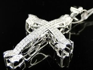 Mens//Ladies White Gold Finish Pave Round Cut Diamond Cross Pendant Charm 1.0 Ct