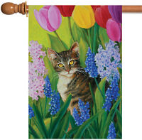 Toland - Tomcat Tulips - Kitty Cat Flower Floral Spring House Flag