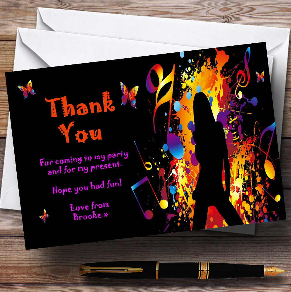 Music Disco Dancing Butterfly Butterfly Butterfly Personalised Party Thank You Cards ffaa60