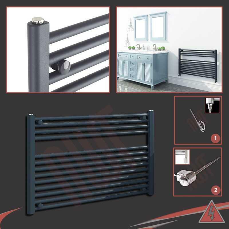 900 mm (W) x 600 mm (H) pré-remplie électrique droite anthracite serviette Rail 300 W