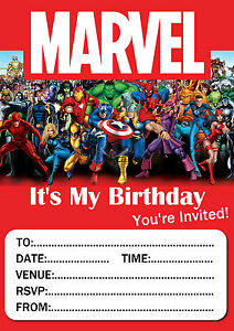 marvel birthday party invitations 10 20 or 30 with envelopes ebay