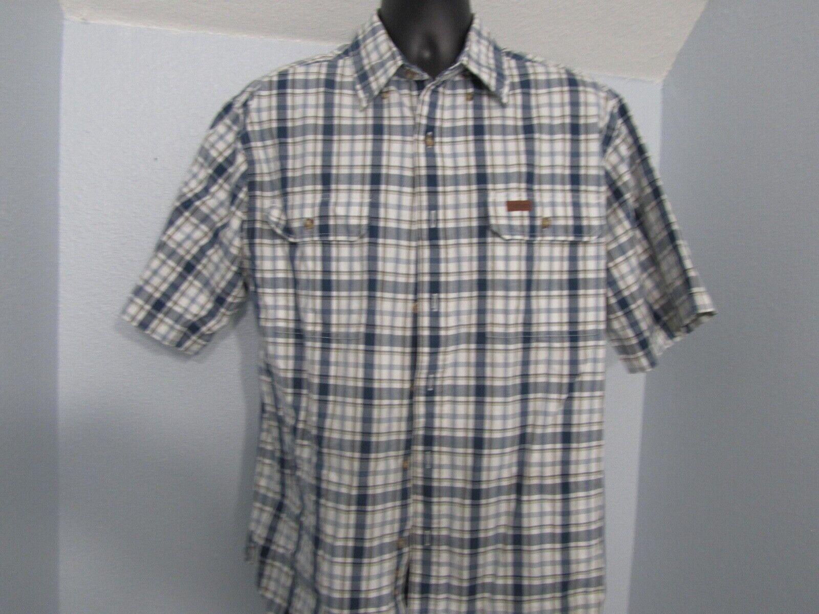 Carhartt Men MD Heavy Duty Shirt Cotton SS Button Up bluee Plaid FREE SHIPPING