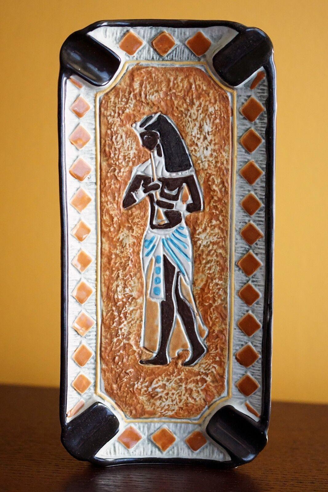 Vintage Egyptian Revival céramique Bischoff carafe bouteille cendrier BRESCIA Italie
