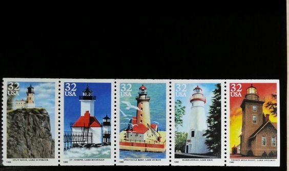 1995 32c Great Lakes Lighthouses, Pane of 5 Scott 2969-